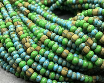 Aged Laguna Turquoise Picasso Glass Seed Beads, Czech Glass Seed Beads Mix, Aged Picasso Seed Beads, Size 6/0 (about 4mm) - 1 strand (AP-08)