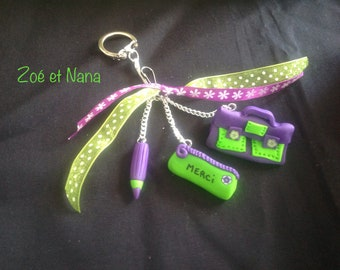Thank you teacher Keychain, bag charm, purple, Plum, lime green, pistachio, thank you, teacher, pre-school, avs school gift