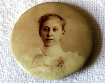 """Antique Photograph Pin Brooch - Victorian Dressed Lady Photograph - Sepia Photograph Brooch - 1 & 5/16"""""""