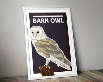 Barn owl. Wildlife. Bird. Yorkshire birds. Illustrated print. A4 or A3