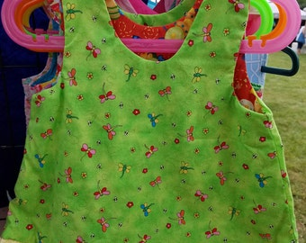 Reversible a-line Dress, Sundress, Jumper, Pinafore Infant Sizes Bugs and dragonfly  with yellow ruffle