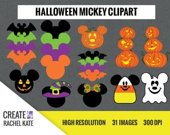 Disney Halloween Mickey Minnie Mouse Clipart Set for Digital Scrapbook Paper Pack