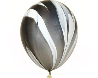 "Black white Marble agate 11"" latex balloons"