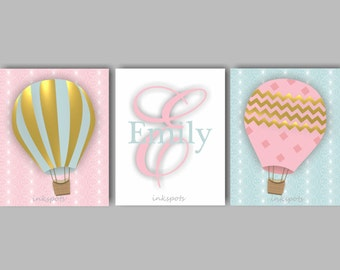 Baby Girl Nursery Art Hot Air Balloon Art Balloon Nursery Wall Art Baby Girl Nursery Bedding Decor Girls Monogram Art CHOOSE Colors TRAB01
