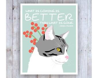 Cat Art Print, Arabic Proverb, Inspirational Quotes, Looking, Pet Decor, Animal Lover, Tabby, Feline, Sweet, Pretty, Soft, Feminine Wall