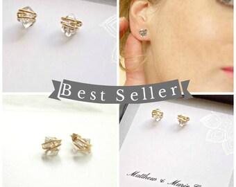 14kt Gold Filled, Rose Gold Filled or Sterling Silver  Herkimer Diamond Earrings. Post Earrings, Diamond, Bridal.