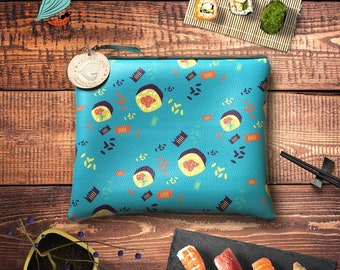 Sushi Pattern Zip Clutch/ Turquoise Handbag/ Cosmetic Bag for sushi lovers/ Guilt-free sushi purse/  Turquoise party clutch/ Summer handbag