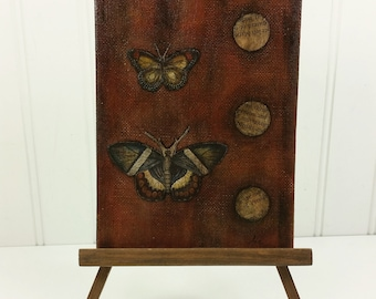 Dark Butterflies Waiting for the Light Original Mixed Media Painting in Brown