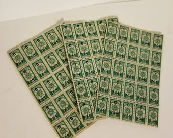 75 Northern savings trading stamps green color 3 sheets of 25 Vintage paper supplies ephemera  art scrap mixed media 1x
