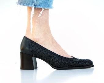 Size 7: Vintage IPANEMA Navy Blue Woven Leather Block Heel Woman's Retro Heel Shoes
