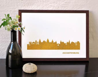 Gold poster ASCHAFFENBURG, custom gold poster, art print ASCHAFFENBURG, ASCHAFFENBURG skyline in gold, wedding favor, nostalgia wanderlust
