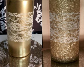 Set of three Glittered / Metallic 9 inches vase/ candleholders.