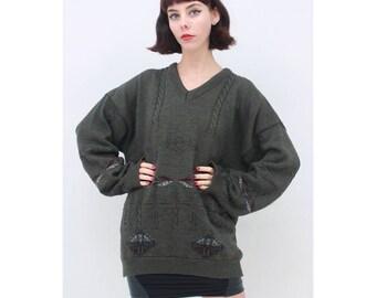 MENS - Vintage - 80's - Retro - Dark - Khaki - Green - Warm - WOOL - Cable - Knit - Jumper - Sweater - Pullover - XL