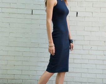 Summer Dress / Party Dress / Racer Party Dress / Fitted Dress / Navy Blue Dress / Punto Dress / Casual Dress / Marcellamoda - MD0081