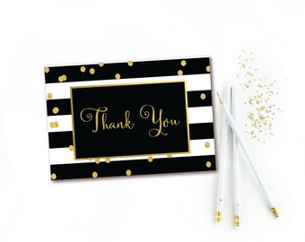 Black & White Stripe Gold Confetti Thank You Card - INSTANT DOWNLOAD