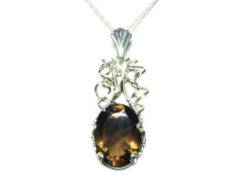 Smoky quartz sterling silver wrapped pendant with chain