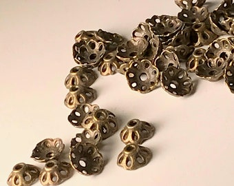 Bead Caps, 8mm, Lace Scallop, Antique Bronze, 50 or 100 Pieces, Findings, Supplies