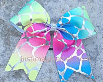 """2.25"""" x 6"""" x 6"""" Cheer Sports Bow Rainbow Giraffe Foil Print Hair Bow"""