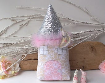 House pillow, Fairy cottage in pastel colours with silver roof, nursery toy and decor. Beautiful gift for a girl. Baby shower, birthday, etc