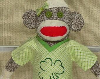 """Irish Sock Monkey - Fun Irish Gift - 18"""" Rockford Red Heel Socks"""