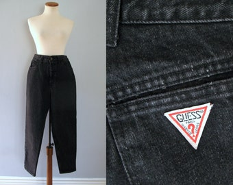 """80s Guess jeans - vintage distressed black dark denim high waisted tapered mom hipster straight leg dungarees georges marciano 30"""" waist"""