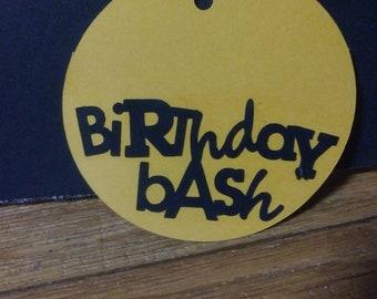 Birthday bash gift tag