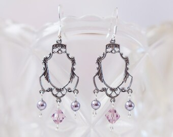 Victorian Style Earrings with Swarovski Crystals and Pearls