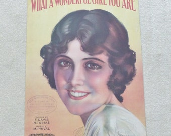 What a Wonderful Girl You Are Vintage sheet music dated 1920 Collectible sheet music Antique sheet music Cover art