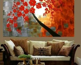 SALE HUGE Oil Landscape painting Abstract Original Modern palette knife Red Blossoms impasto oil painting by Nicolette Vaughan Horner