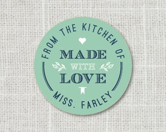 Made with Love Stickers, Personalized Food Labels, From the Kitchen of Gift Stickers, Favor Labels, Baked Good Stickers, Food Stickers
