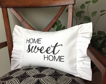 Home Sweet Home Pillow, Decorative Pillow, Rustic Home Decor, Accent Pillow, Rustic Decor, Gift, Farmhouse Decor, French Cottage