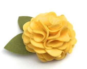Buttercup Yellow Felt Flower for Dog Collar