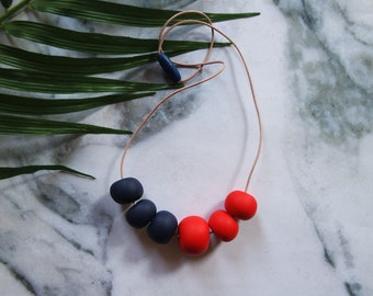 SALE Handmade Polymer Clay Geometric Beaded Necklace Navy and Red