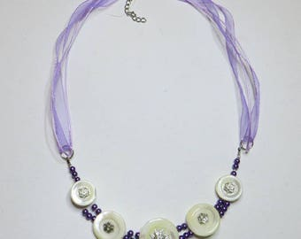 Vintage Pearl White and purple beads - #159 buttons necklace