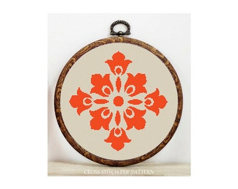 Orange Motif-Cross Stitch Pattern-Modern Sampler-Pdf-Instant Download