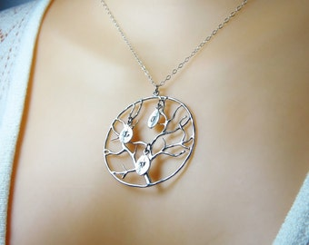 Family tree necklace Mother necklace Family jewelry Nana gift Tree of life necklace Family pendant Mothers pendant Family tree pendant N102