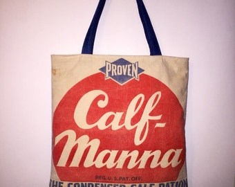 Vintage Feed Bag Feed Sack And Denim Purse Tote Shoulderbag Proven Calf Manna Upcycled Fashion