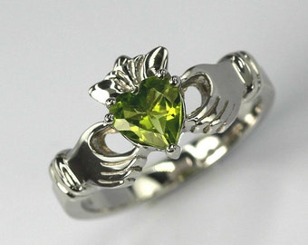 Claddagh April Sterling Silver Ring With Peridot - Love and Friendship, Engagement, Promise, Proposal, Handfasting, Engagement, Gift  Ring