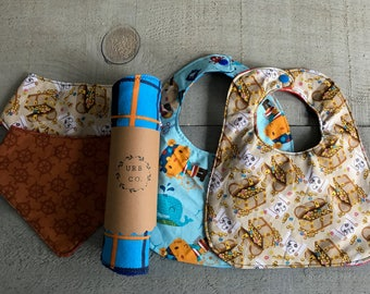 a Pirate Set including 4 bibs and a matching burp cloth