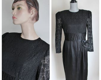 1980s Black Lace Dress by Leslie Fay Collections, Size 12 Vintage Short Formal