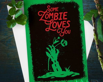 Greeting Card, Some Zombie Loves You, Stationery, Note Card, Retro Halloween, Vintage Halloween, Vintage Card, Zombie Love, Love Card