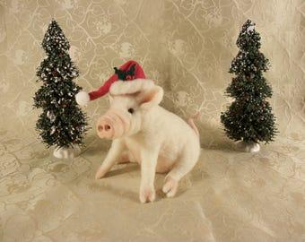 Felted Pig, Christmas Ham, Little Wool Pig