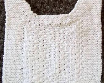 Hand knit baby bib, cotton bib, knitted baby bib, hand knitted bib, baby bibs knitted, baby burb cloth