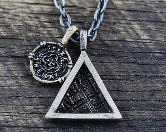 Triangle Necklace Mens Necklace Geometric Jewelry Mens Chain Necklace Minimalist Necklace Mens Jewelry Silver Triangle Men's Necklace