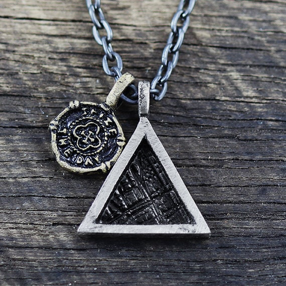 Triangle necklace mens necklace geometric jewelry mens chain mozeypictures Image collections