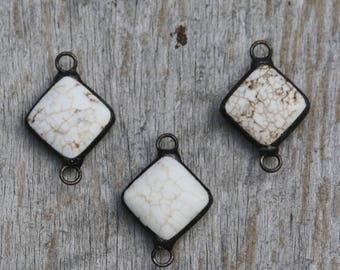 Soldered White Magnesite Pendant //White Turquoise Connector
