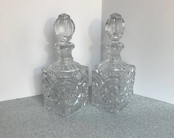 Matching Pair Two Crystal Wine Liquor Decanters Pressed Cut Etched Bottles Starburt Design Elegant Mid Century Housewarming Wedding Gift