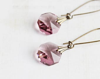 Light Purple Earrings, Purple Dangle Earrings on Antiqued Brass, Crystal Jewelry