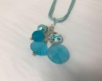 Light  Blue Sea Glass Gemstone Pendant Cluster Necklace