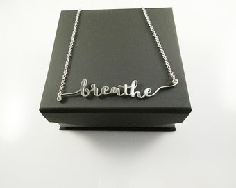Breathe Necklace, Silver Script Words Pendant, .925 Sterling Silver Jewelry